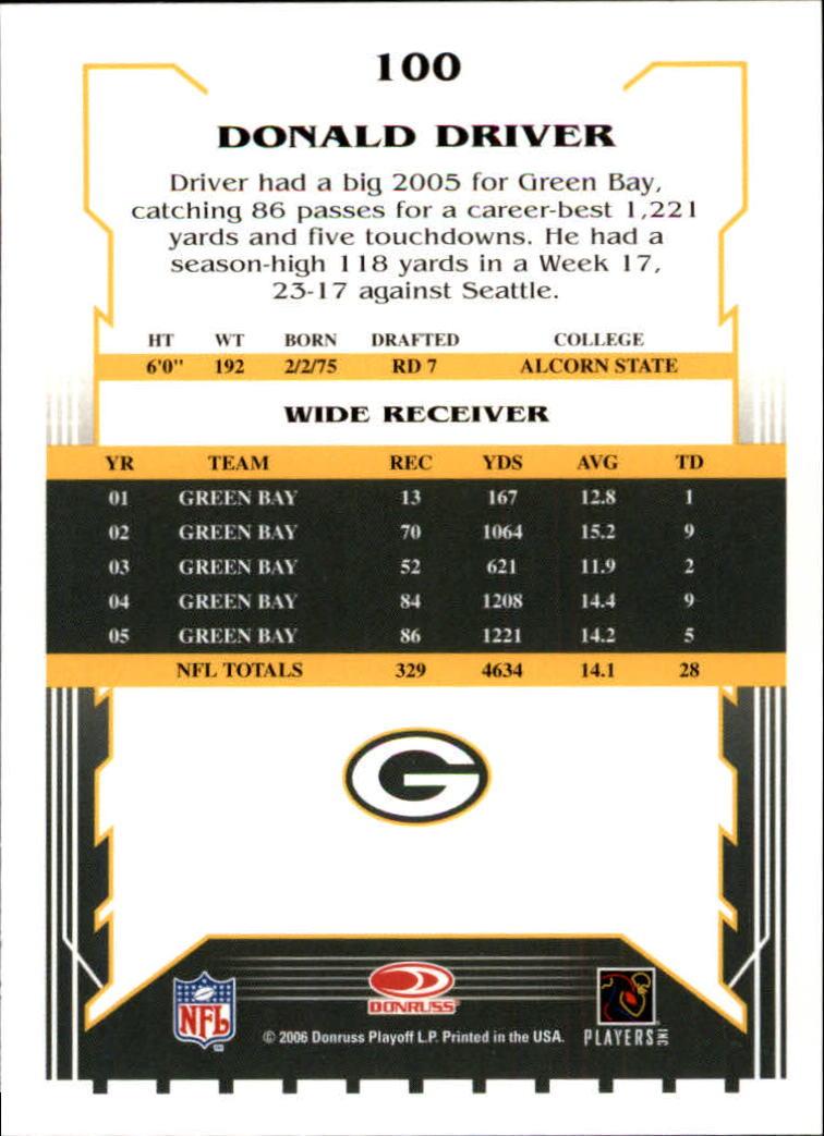 2006 Score #100 Donald Driver back image