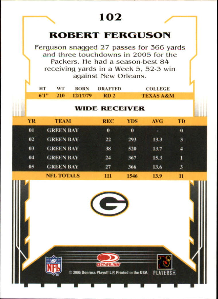 2006 Score #102 Robert Ferguson back image