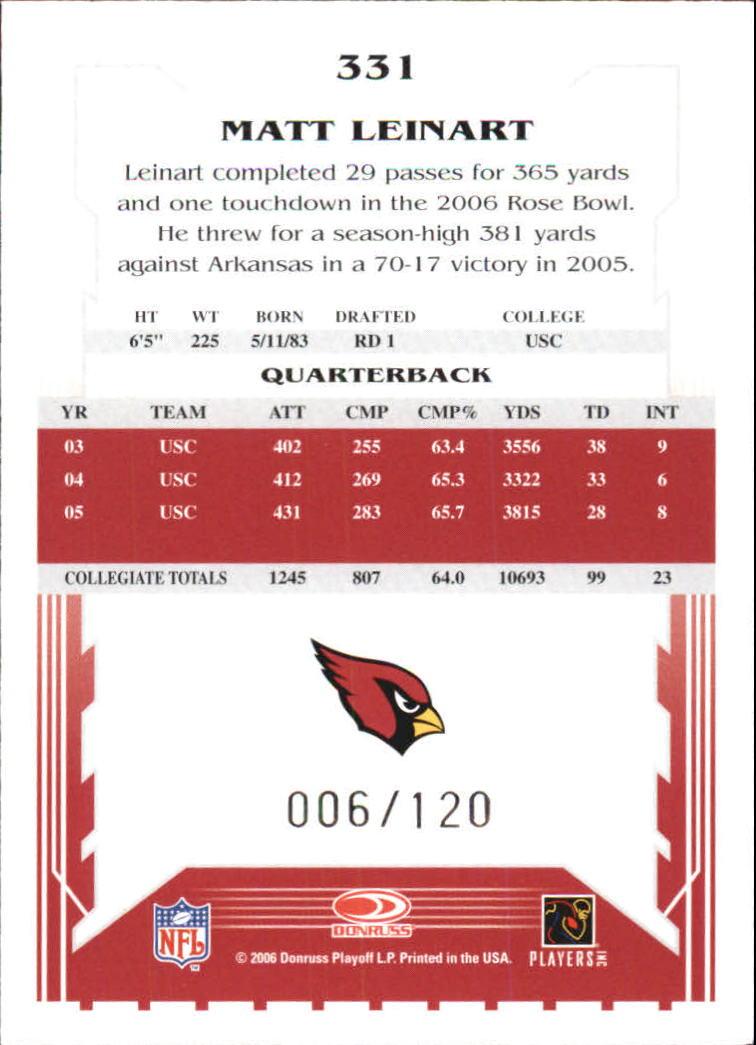 2006 Score Red #331 Matt Leinart back image