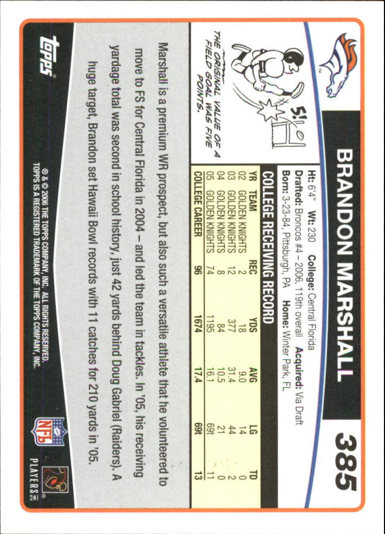 2006 Topps Special Edition Rookies #385 Brandon Marshall back image