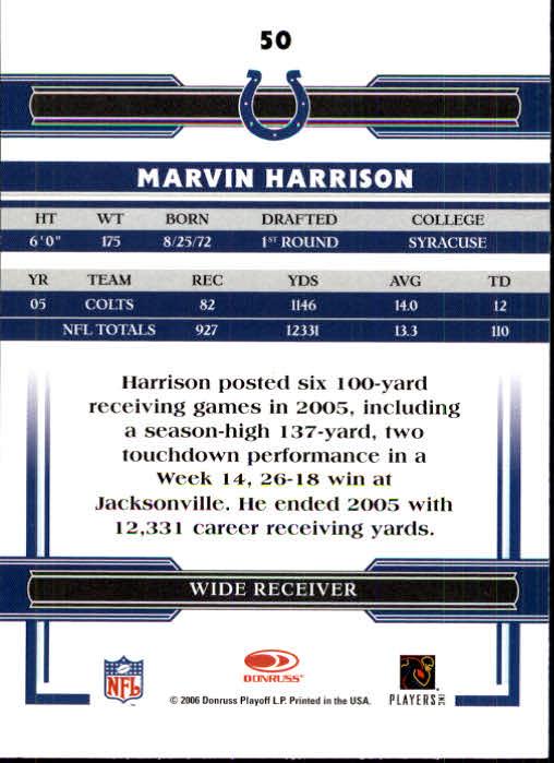 2006 Donruss Threads #50 Marvin Harrison back image