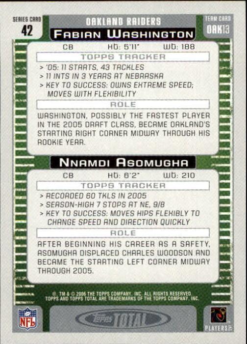 2006 Topps Total #42 Nnamdi Asomugha/Fabian Washington back image