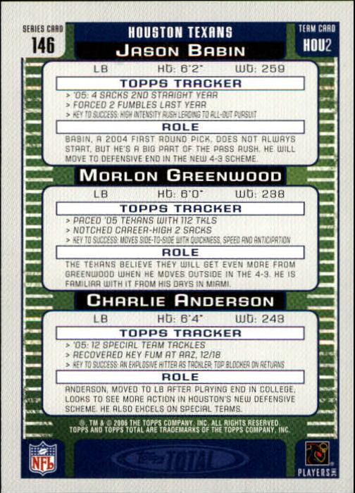 2006 Topps Total #146 Charlie Anderson/Jason Babin/Morlon Greenwood back image