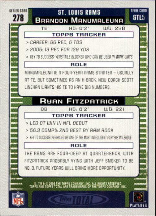 2006 Topps Total #278 Brandon Manumaleuna/Ryan Fitzpatrick back image