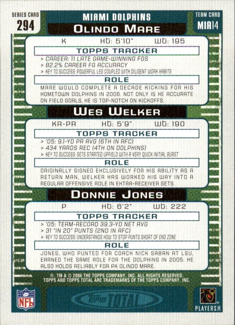 2006 Topps Total Silver #294 Donnie Jones/Olindo Mare/Wes Welker back image