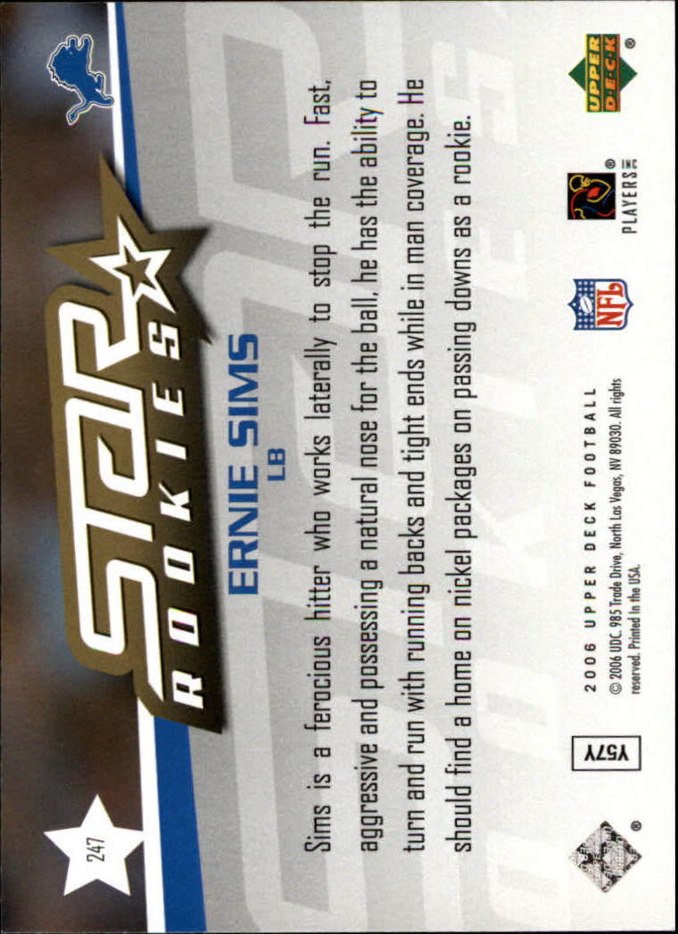 2006 Upper Deck #247 Ernie Sims RC back image