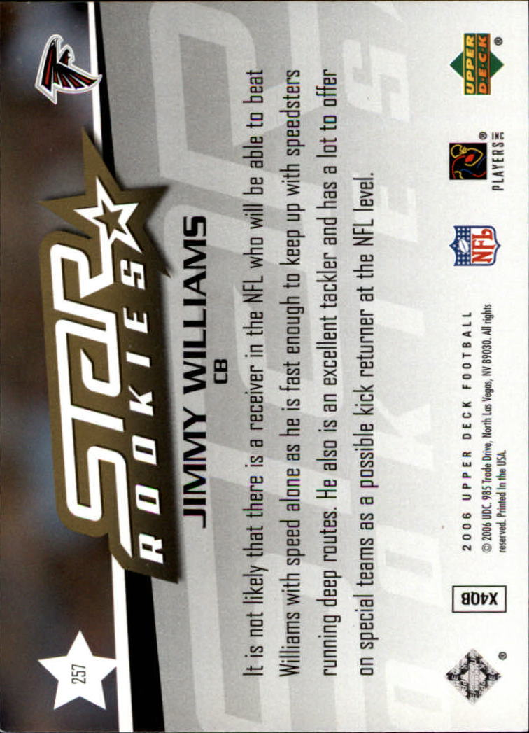 2006 Upper Deck #257 Jimmy Williams RC back image