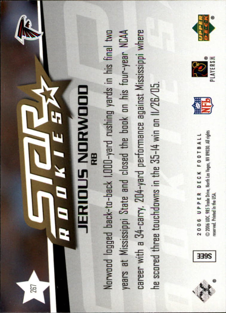 2006 Upper Deck #267 Jerious Norwood RC back image