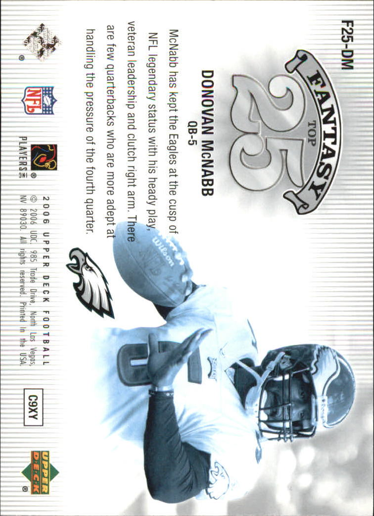 2006 Upper Deck Fantasy Top 25 #F25DM Donovan McNabb back image