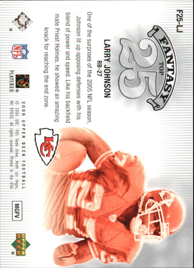 2006 Upper Deck Fantasy Top 25 #F25LJ Larry Johnson back image