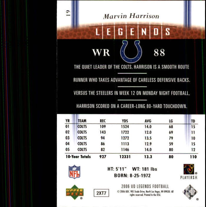 2006 Upper Deck Legends #19 Marvin Harrison back image