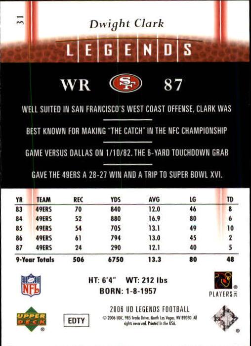 2006 Upper Deck Legends #31 Dwight Clark back image
