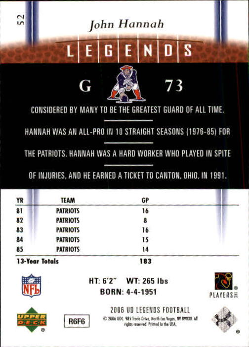 2006 Upper Deck Legends #52 John Hannah back image