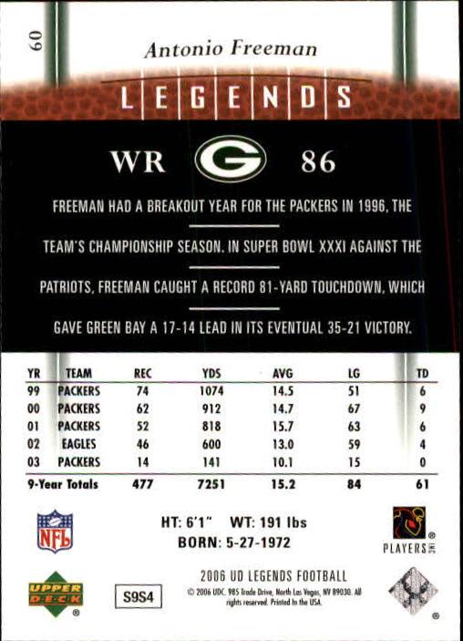 2006 Upper Deck Legends #60A Antonio Freeman back image