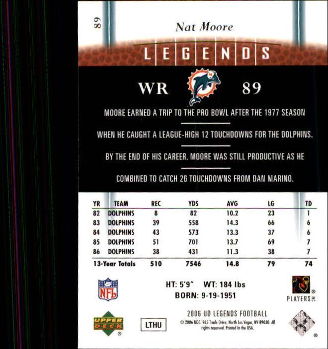 2006 Upper Deck Legends #89 Nat Moore back image