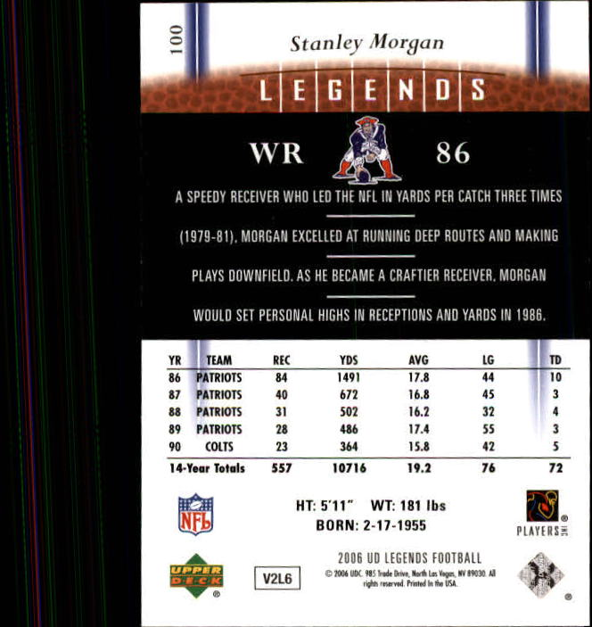 2006 Upper Deck Legends #100 Stanley Morgan back image