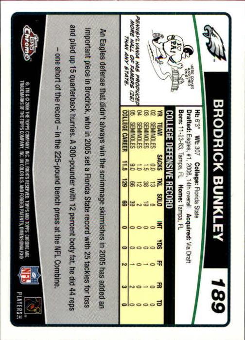 2006 Topps Chrome #189 Brodrick Bunkley RC back image
