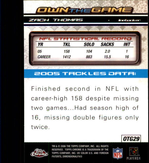 2006 Topps Chrome Own The Game #OTG29 Zach Thomas back image