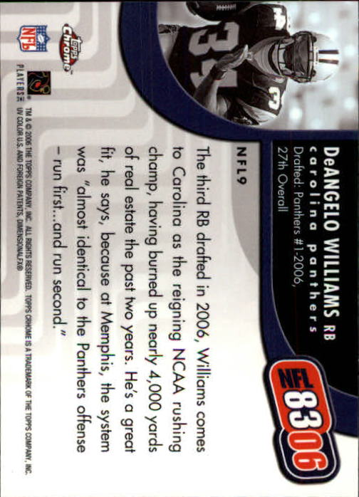 2006 Topps Chrome NFL 8306 #NFL9 DeAngelo Williams back image