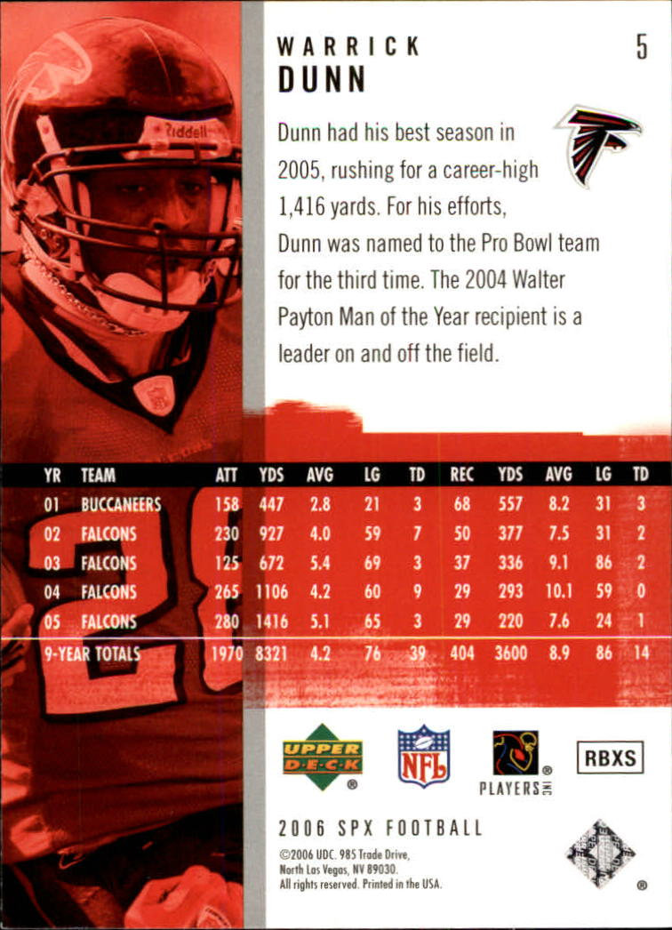 2006 SPx #5 Warrick Dunn back image