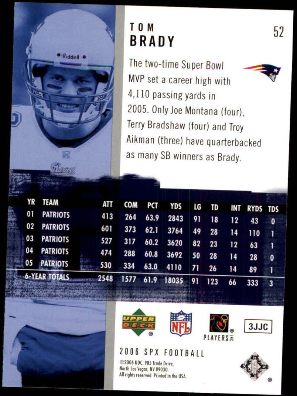 2006 SPx #52 Tom Brady back image