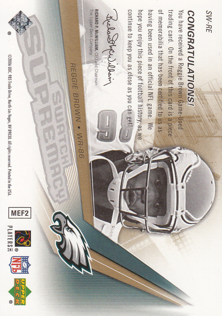 2006 SPx Swatch Supremacy #SWRE Reggie Brown back image