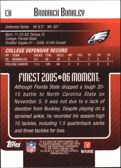 2006 Finest #131 Brodrick Bunkley RC back image