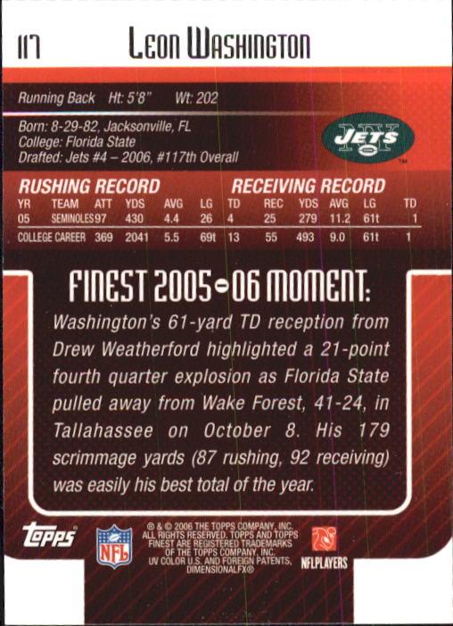 2006 Finest #117 Leon Washington RC back image
