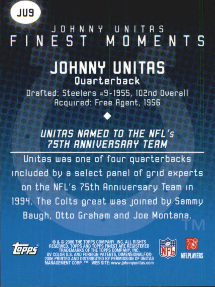 2006 Finest Johnny Unitas Finest Moments #JU9 Johnny Unitas back image