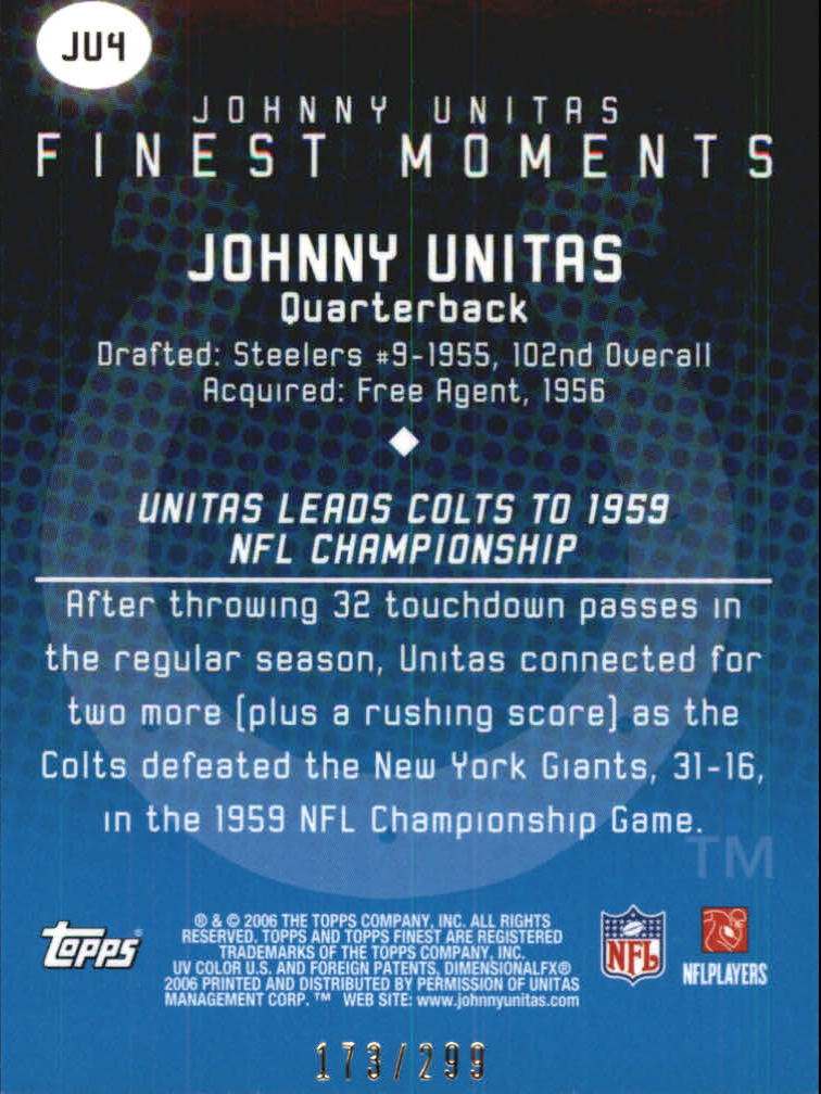 2006 Finest Johnny Unitas Finest Moments Blue Refractors #JU4 Johnny Unitas back image