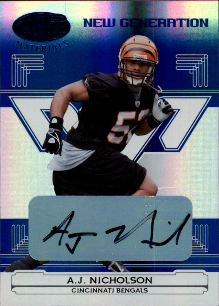 2006 Leaf Certified Materials Mirror Blue Signatures #163 A.J. Nicholson/100