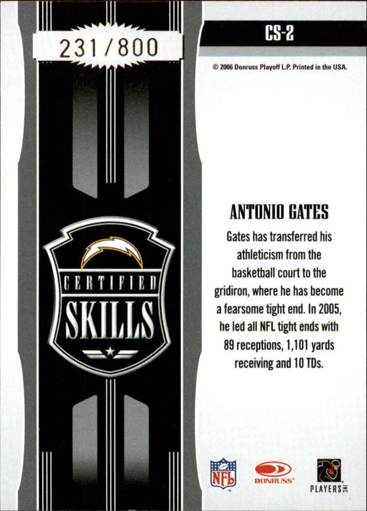 2006 Leaf Certified Materials Certified Skills Gold #2 Antonio Gates back image