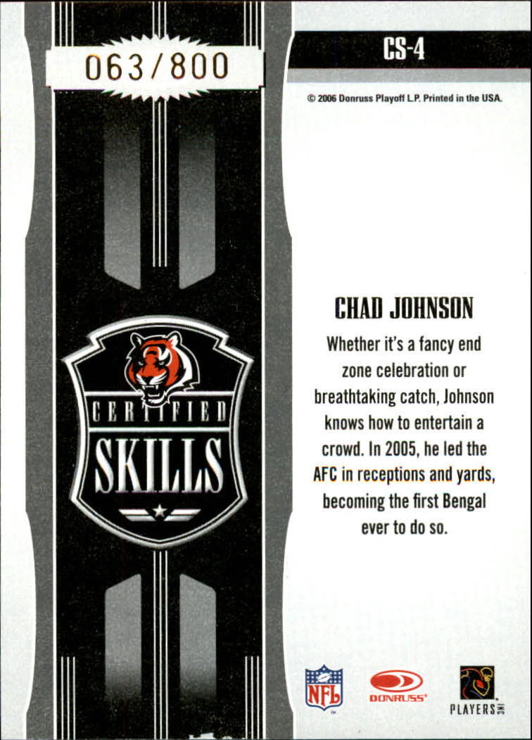 2006 Leaf Certified Materials Certified Skills Gold #4 Chad Johnson back image