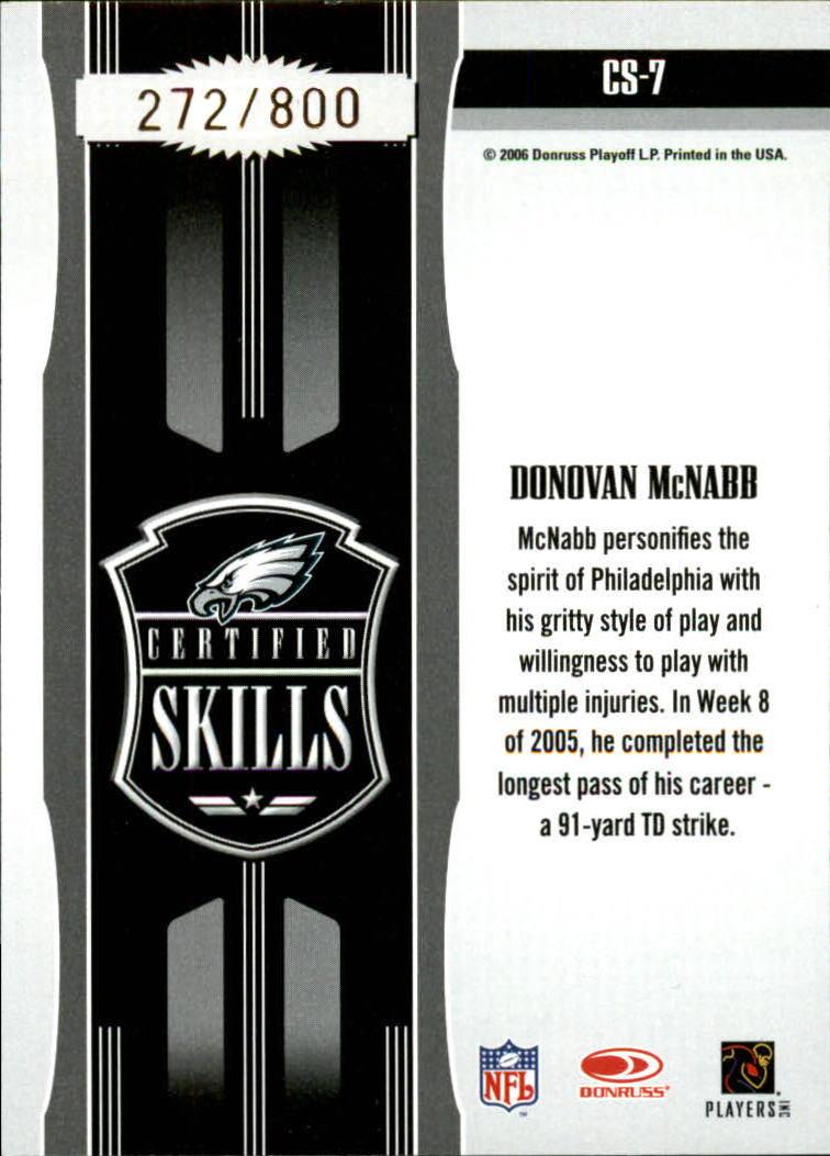 2006 Leaf Certified Materials Certified Skills Gold #7 Donovan McNabb back image