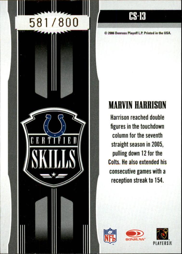 2006 Leaf Certified Materials Certified Skills Gold #13 Marvin Harrison back image