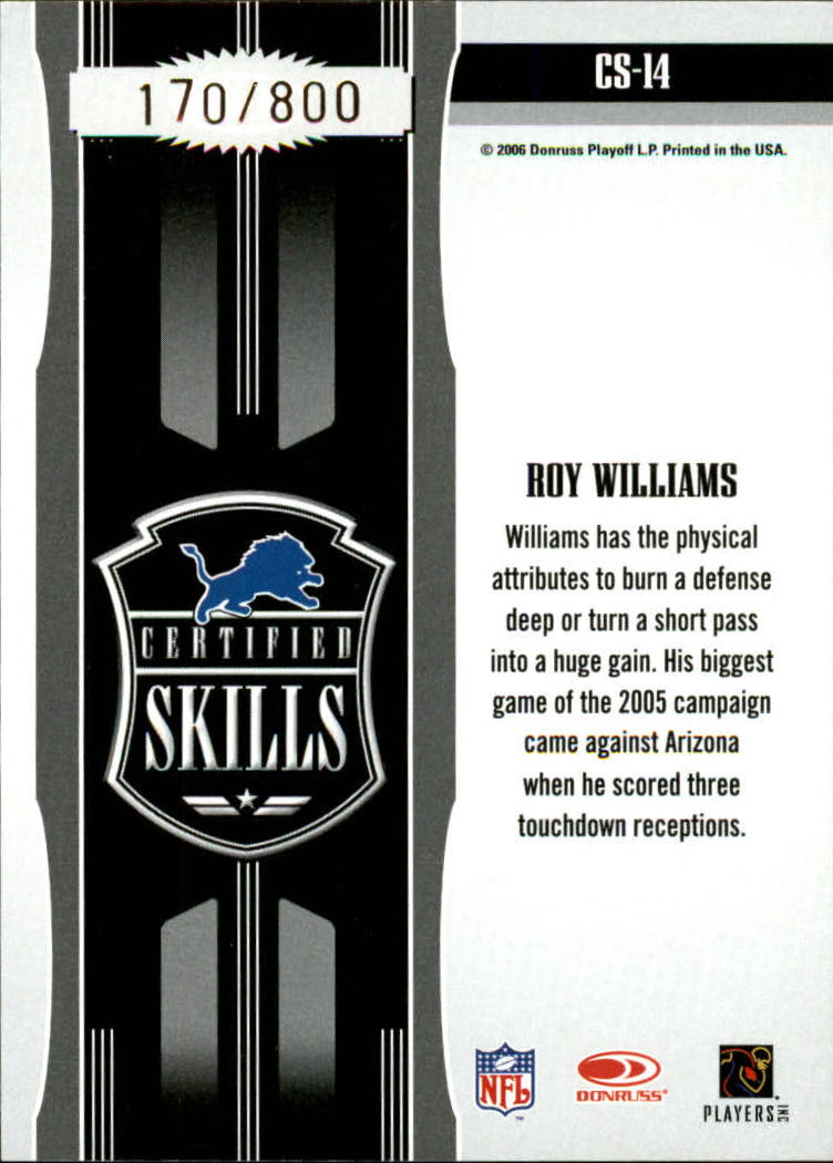 2006 Leaf Certified Materials Certified Skills Gold #14 Roy Williams WR back image
