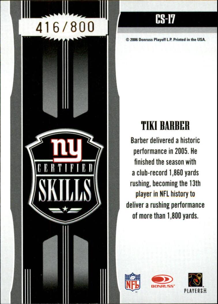 2006 Leaf Certified Materials Certified Skills Gold #17 Tiki Barber back image