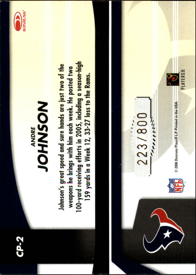 2006 Leaf Certified Materials Certified Potential Gold #2 Andre Johnson back image