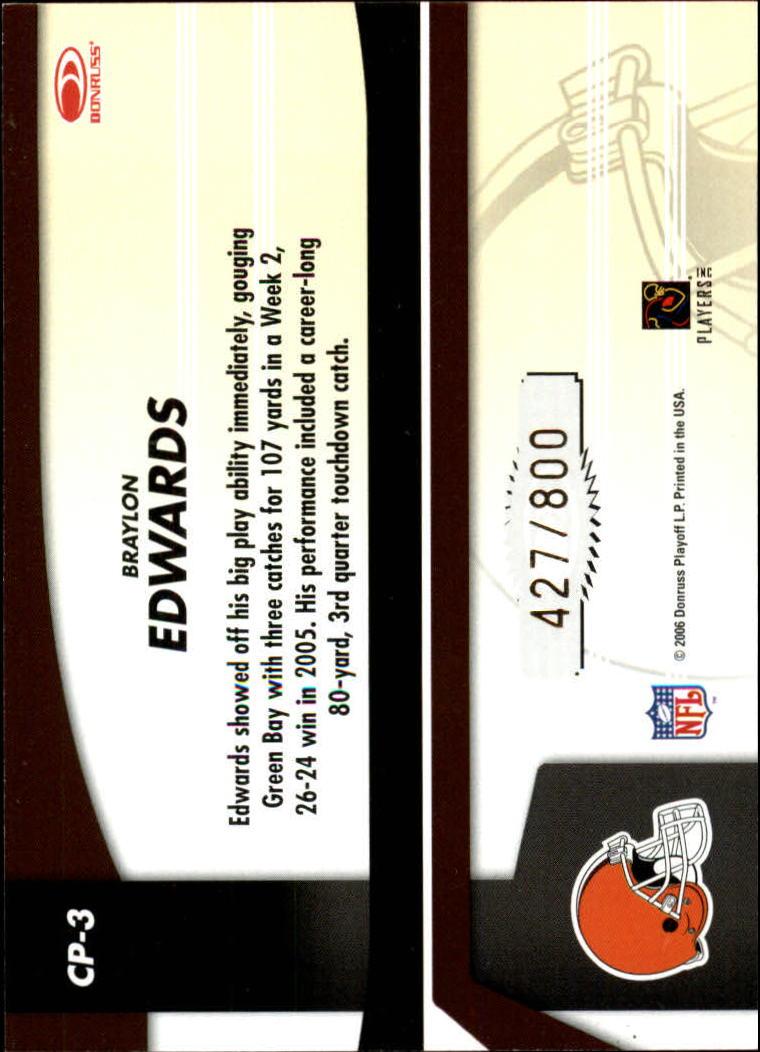 2006 Leaf Certified Materials Certified Potential Gold #3 Braylon Edwards back image
