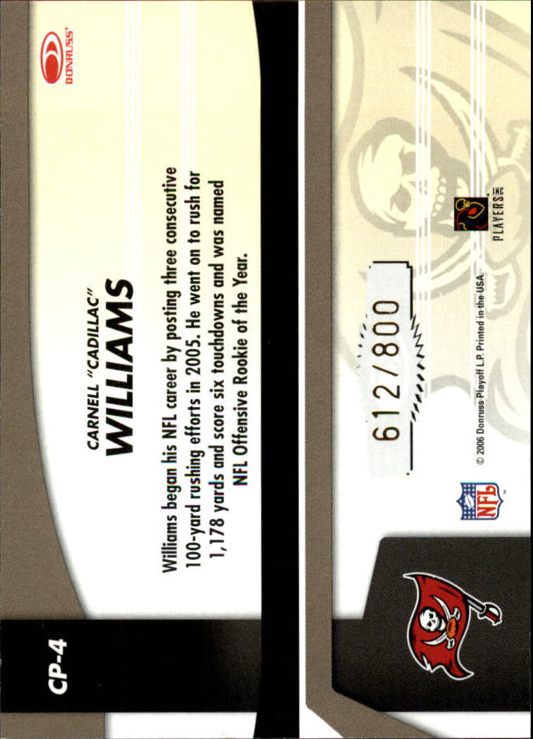2006 Leaf Certified Materials Certified Potential Gold #4 Cadillac Williams back image