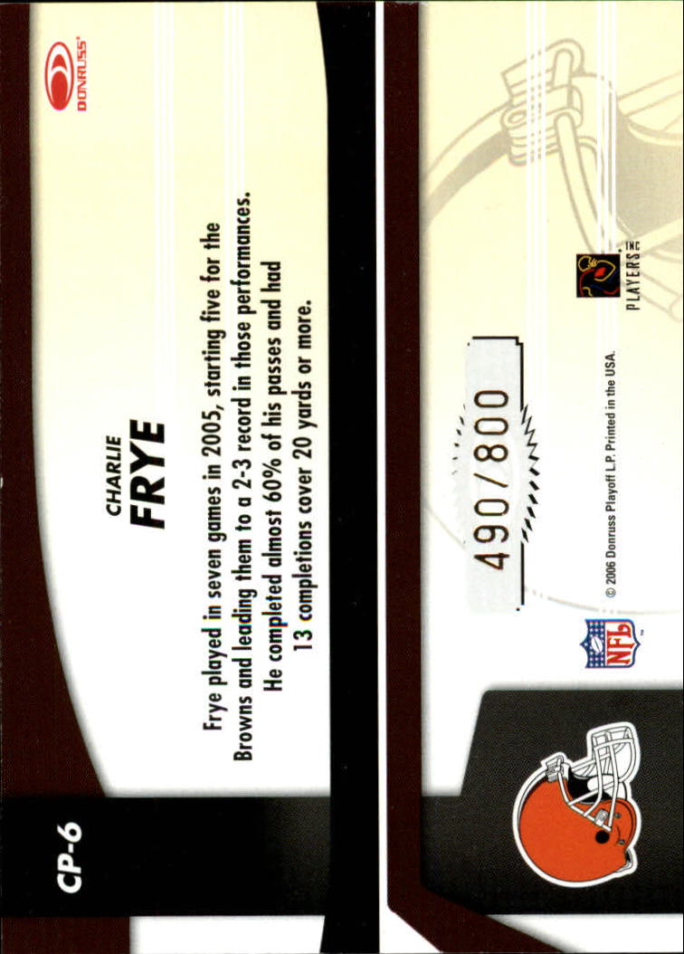 2006 Leaf Certified Materials Certified Potential Gold #6 Charlie Frye back image
