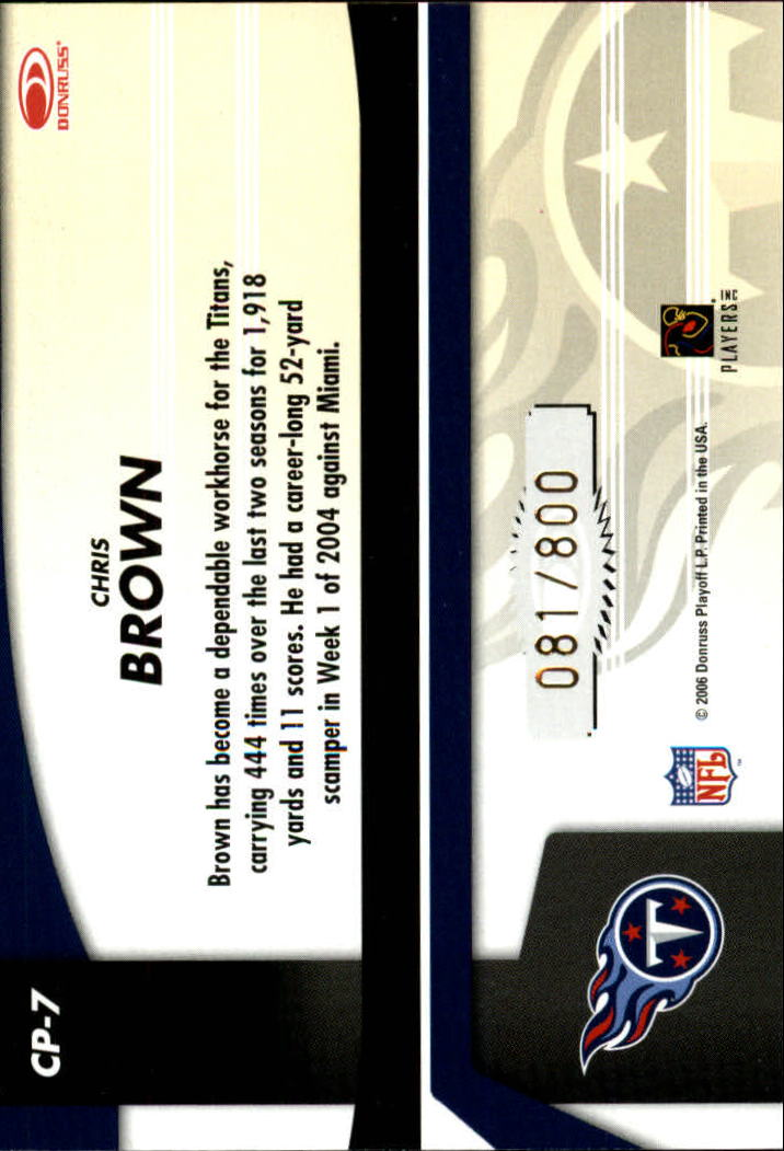 2006 Leaf Certified Materials Certified Potential Gold #7 Chris Brown back image