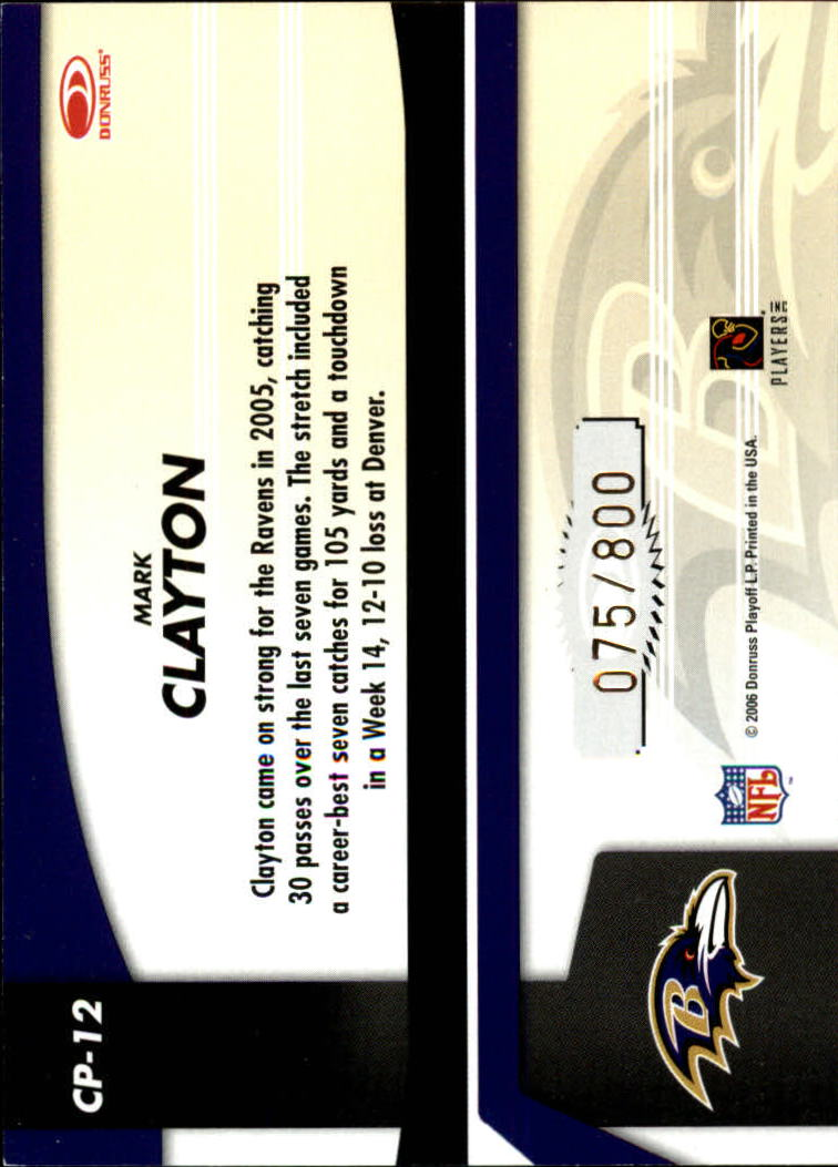 2006 Leaf Certified Materials Certified Potential Gold #12 Mark Clayton back image