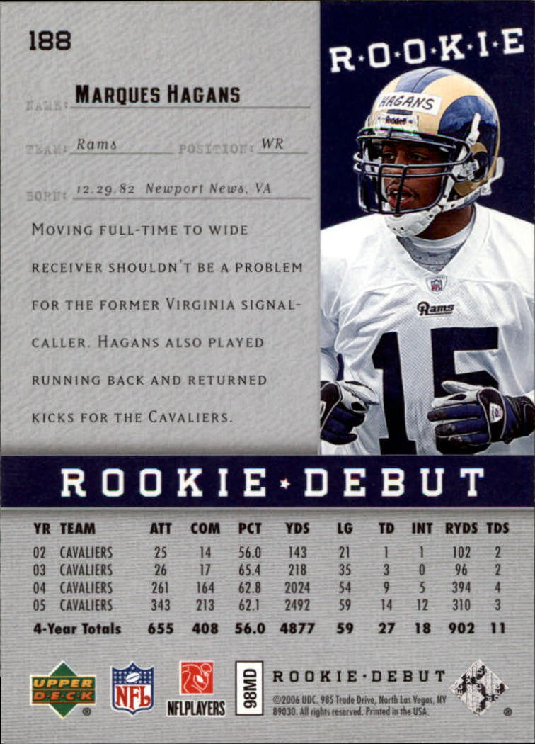 2006 Upper Deck Rookie Debut #188 Marques Hagans RC back image