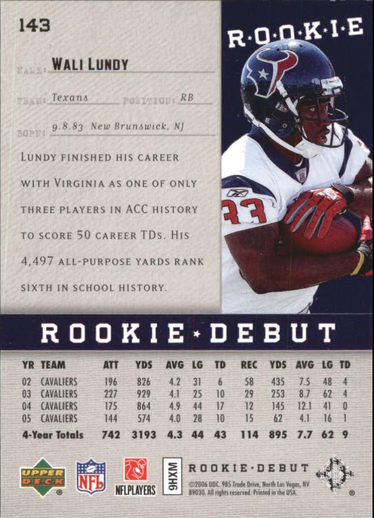 2006 Upper Deck Rookie Debut Holofoil #143 Wali Lundy back image