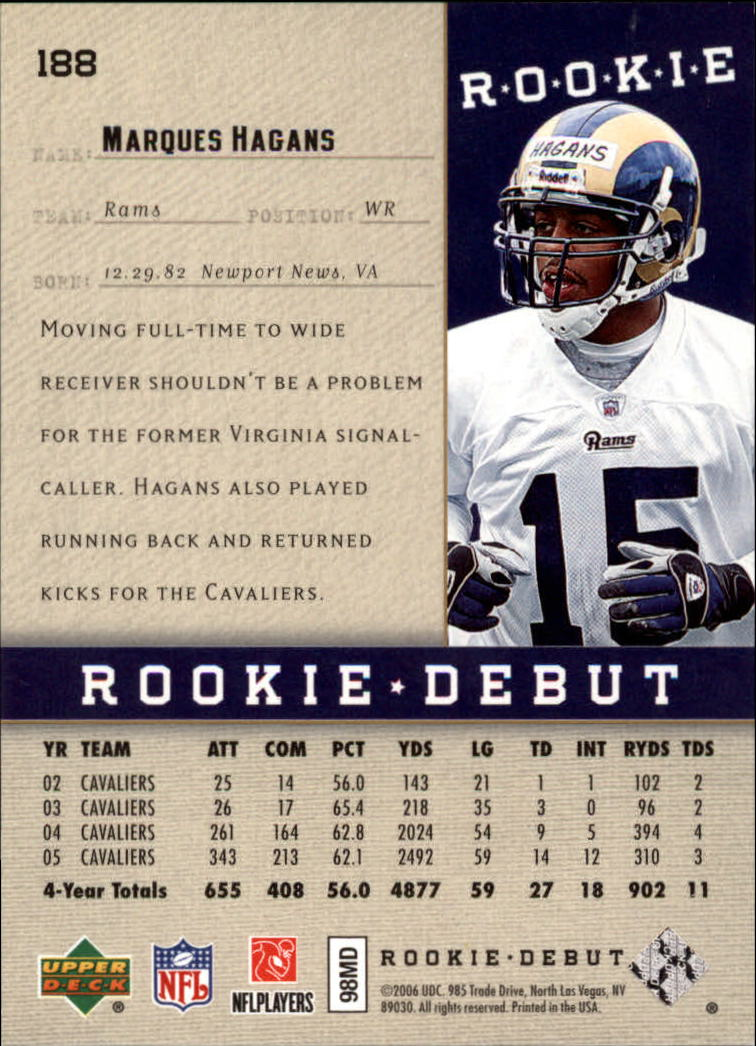 2006 Upper Deck Rookie Debut Gold #188 Marques Hagans back image