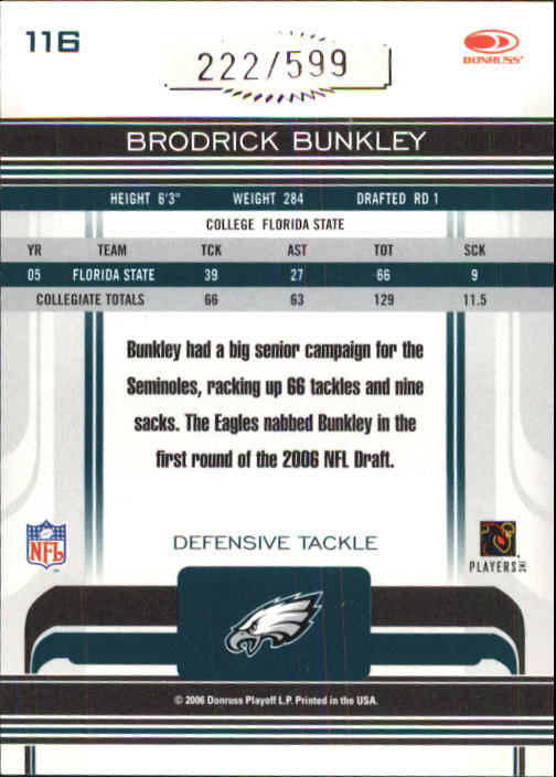 2006 Donruss Gridiron Gear #116 Brodrick Bunkley RC back image