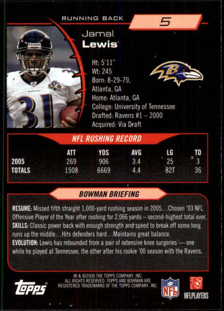 2006 Bowman #5 Jamal Lewis back image