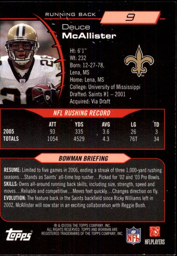 2006 Bowman #9 Deuce McAllister back image