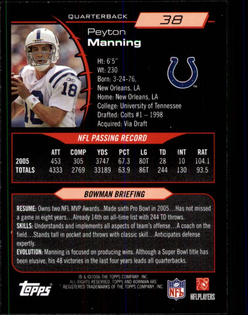 2006 Bowman #38 Peyton Manning back image